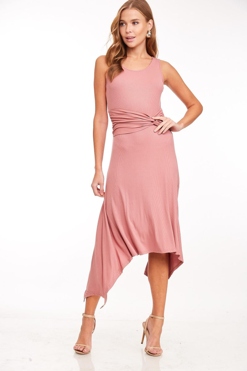 Mauve Twist Belted Jersey Dress