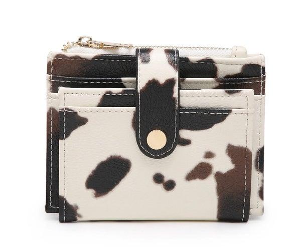 Cow Print Sam Mini Snap Wallet/Card Holder