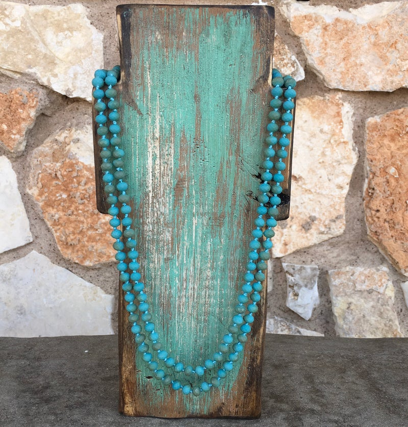 """Matte Turquoise 60"""" Crystal Necklace"""