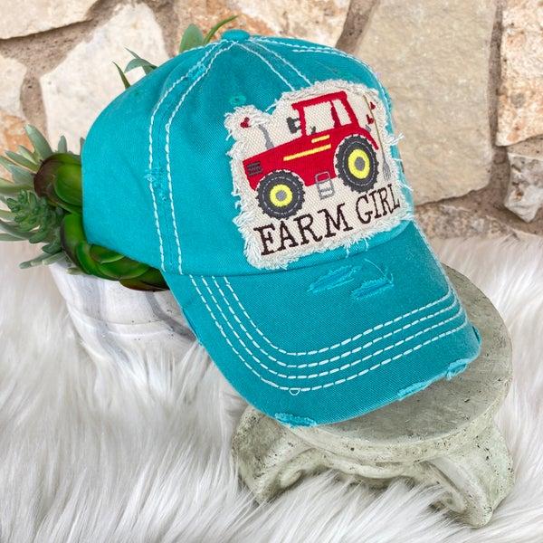 Turquoise Farm Girl Tractor Ball Cap