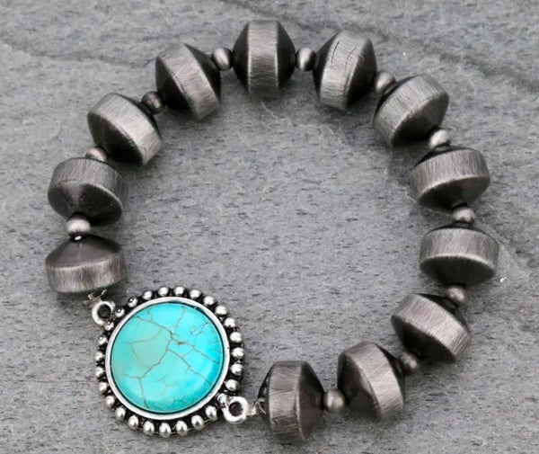 Natural Stone Navajo Pearl Stretch Bracelet