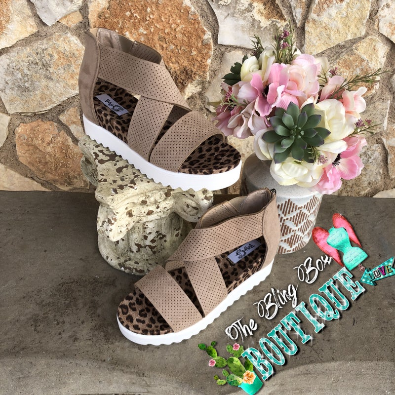 Ace Taupe Suede Leopard White sole Sandal SIZE