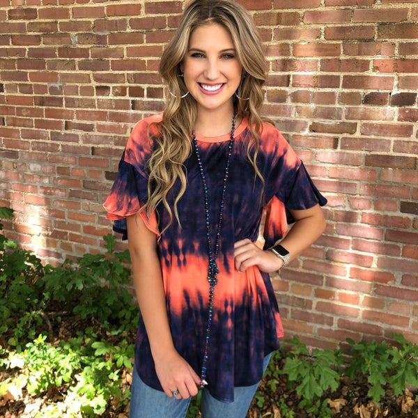 Plum & Coral Ombre Tie Dye Ruffle Sleeve Top