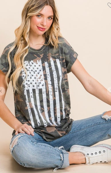 Camo Short Sleeve American Flag Graphic Tee