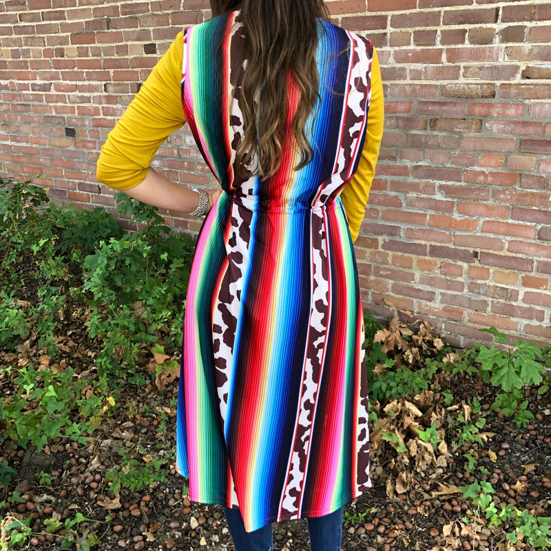 Serape Cow Print Vest