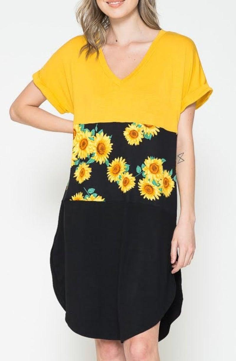 Mustard Sunflower Color Block Dress