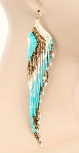 Turquoise & Cream Seed Bead Fringe Dangle Earrings