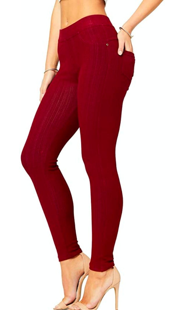 Burgundy Jeggings - MISSES ONE SIZE