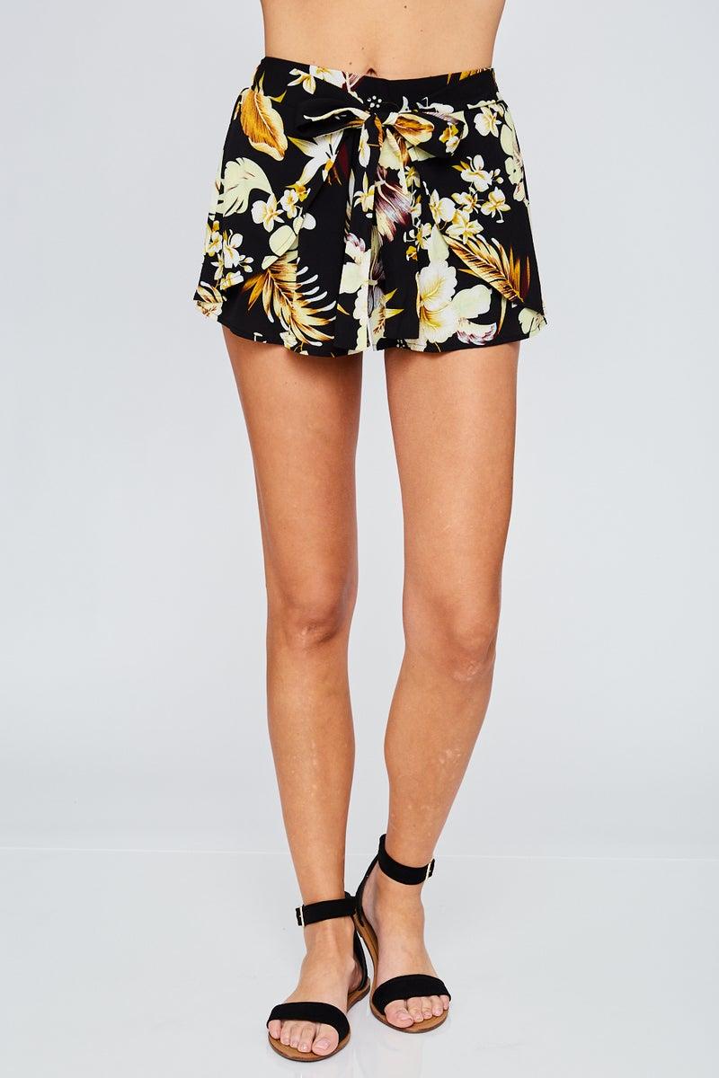 Black Tulip Tropical Print Tie Shorts