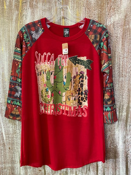 Succa For Christmas Western Sleeve Top