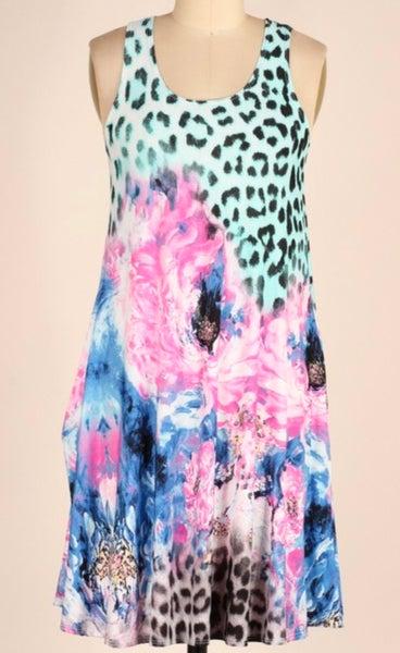 Mint Leopard Floral Sleeveless Dress w/Pockets
