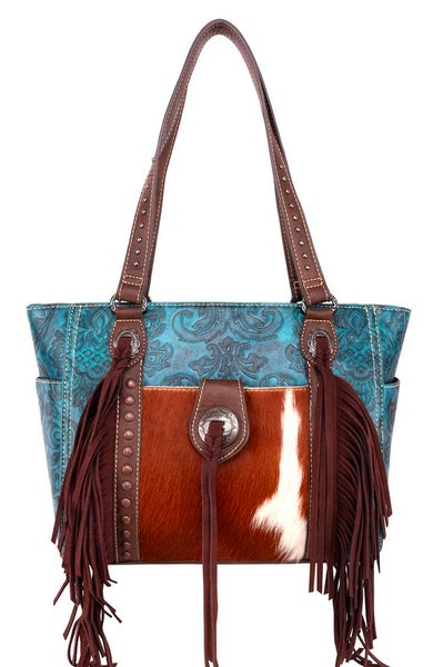 Hair On Hide Turquoise Leather Tooled Montana West Handbag