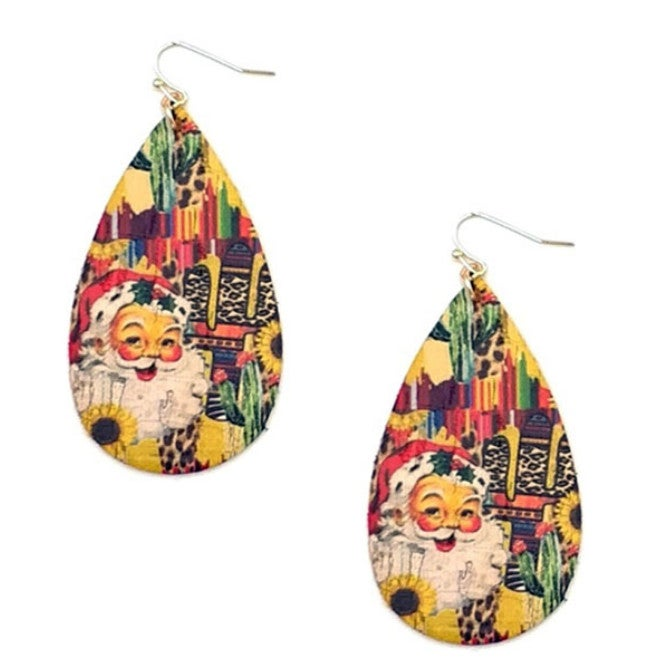 Santa Cactus Leopard Serape Teardrop Earrings