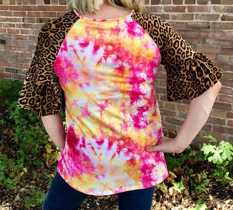 Pink & Gold Tie Dye Leopard Sleeve Top