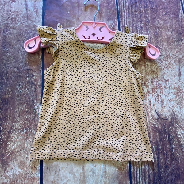 Kids Leopard Print Ruffle Sleeve Top