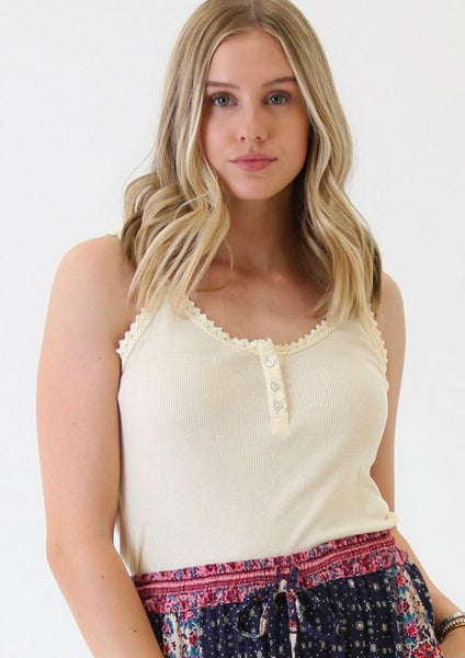 Ivory Lace Trim Rib Knit Tank with Buttons