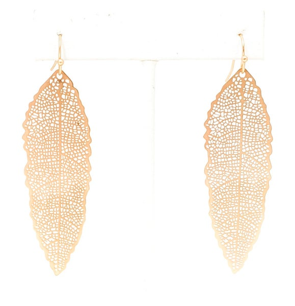Gold Long Leaf Filgree Style Autumn Earrings