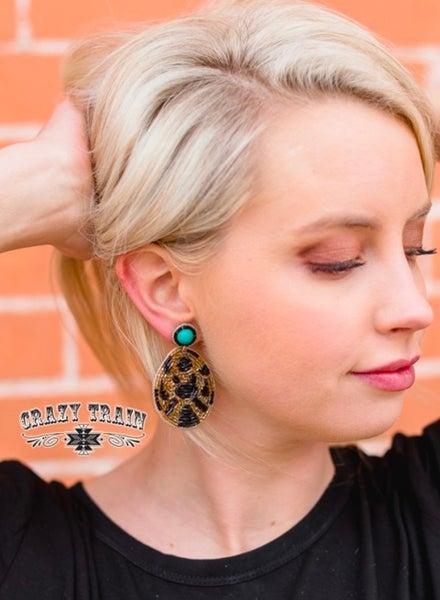 Leopard Seed Bead Teardrop Crazy Train Earrings