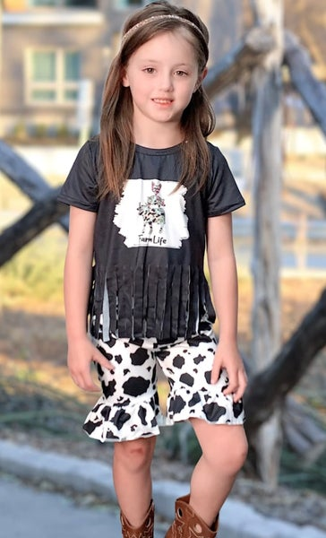 Farm Life Fringe Cow Print Short Set