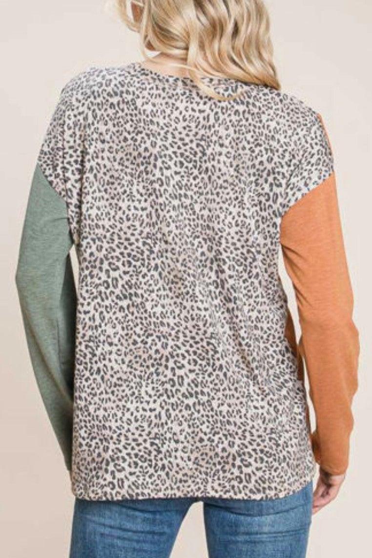 Fall Color Block Leopard Long Sleeve Top