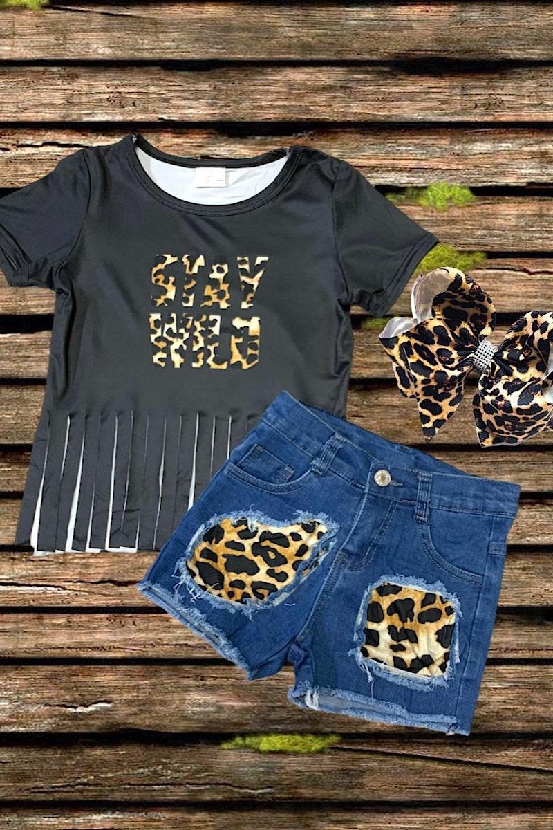 Kids Stay Wild Fringe & Leopard Denim Short Set