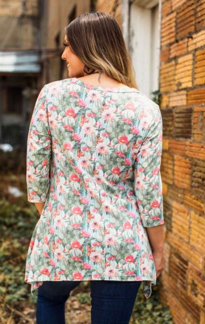 Floral Cactus Tunic with Pockets