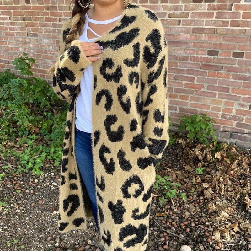 Fuzzy Wuzzy Leopard Long Cardigan with Pockets