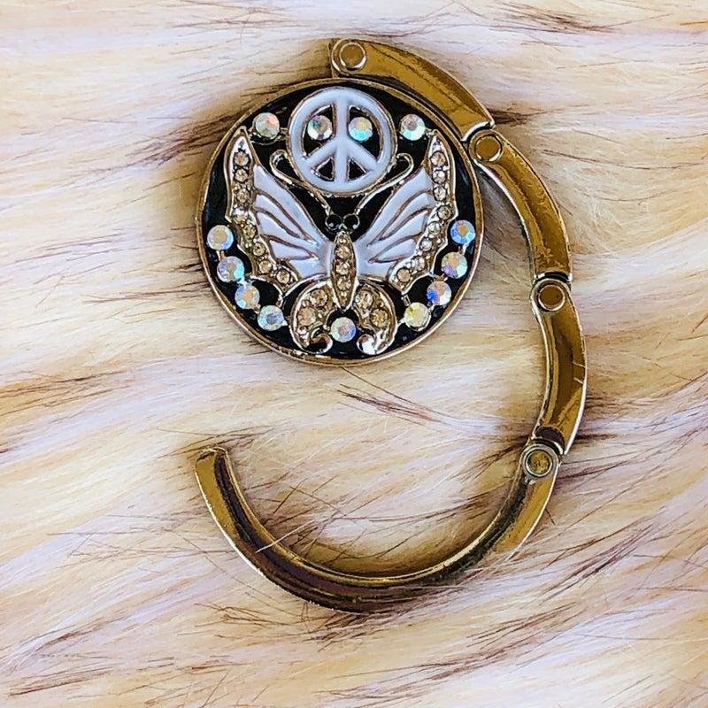 Butterfly Peace Rhinestone Purse Hanger