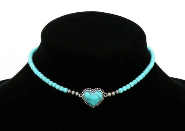 """Turquoise Heart Stone Beaded Choker 11"""" Necklace"""