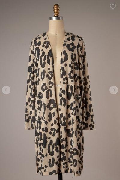 PLUS Mocha Leopard Print Long Sleeve Cardigan with Pockets