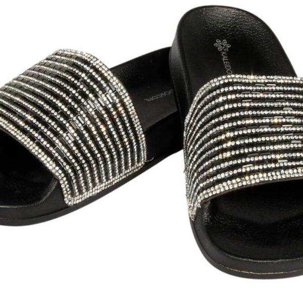 Black Bling Fashion Slides