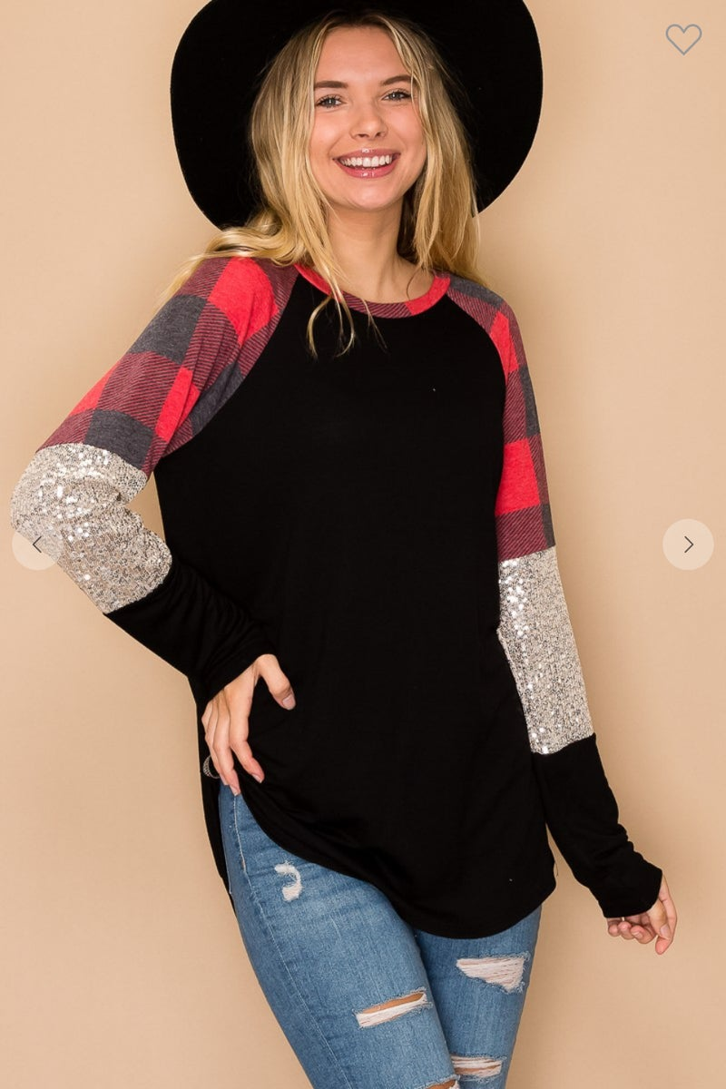 Red Buffalo Plaid Sequin Long Sleeve Top