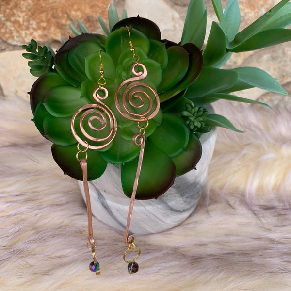 "Bonnie Angela  5"" Long Swirl Copper Earrings"