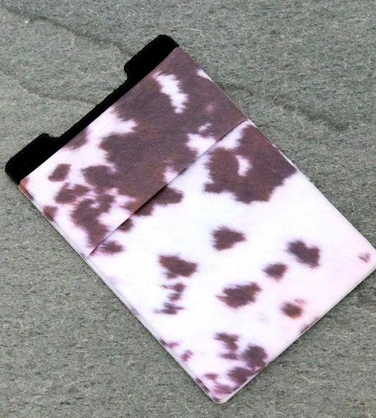 Cow Print Adhesive Phone Pocket