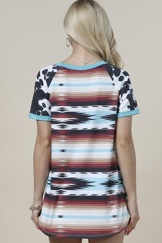 Cow Print Sleeved Aztec Short Sleeve Top
