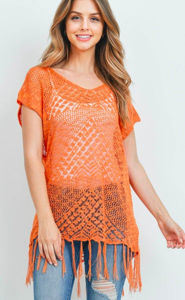Orange Short-Sleeve Knit Tunic Tassel Fringe Hem Top