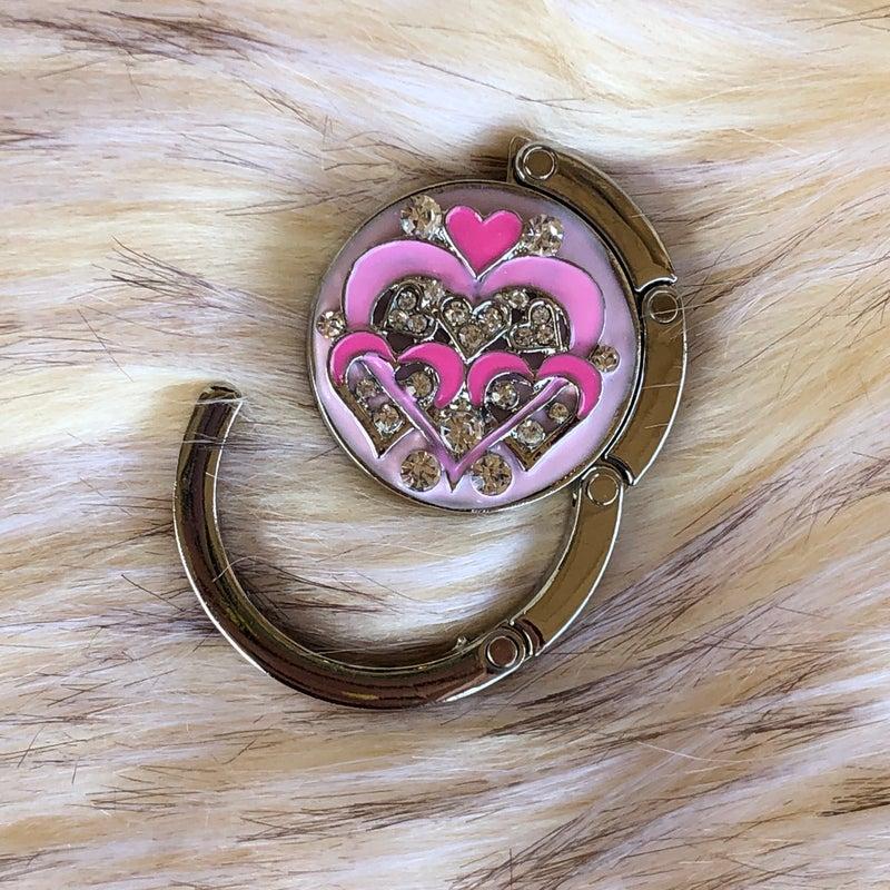 Pink Heart Rhinestone Purse Hanger