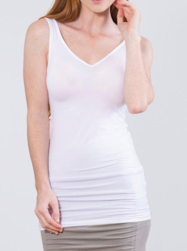 White Reversible Scoop/V-Neck Tank