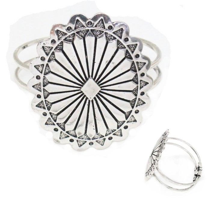 Silver Western Concho Cuff Bracelet