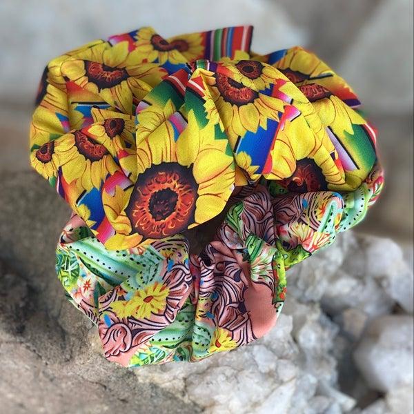 Sunflower & Cactus Leather Print Scrunchie Set
