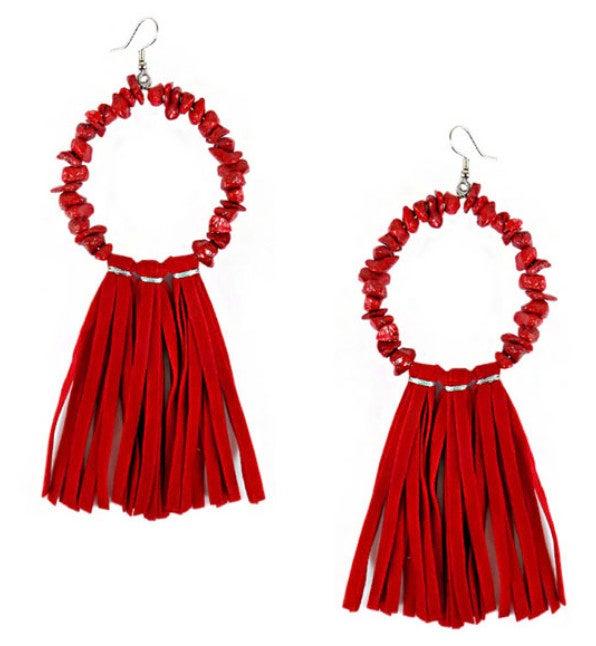 Red Chip Stone Hoop Tassel Earrings