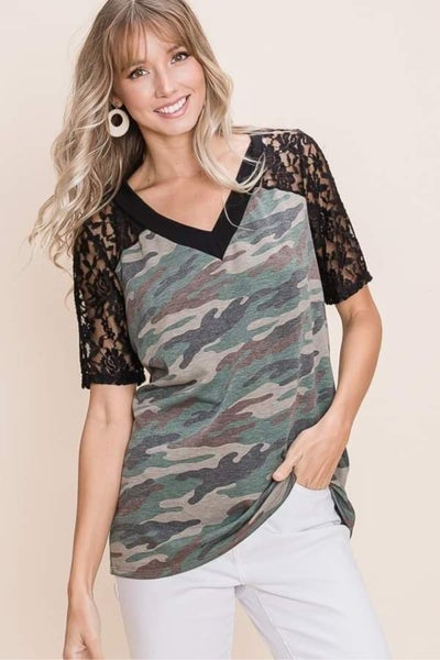 Black Lace Sleeved V-Neck Camo Top