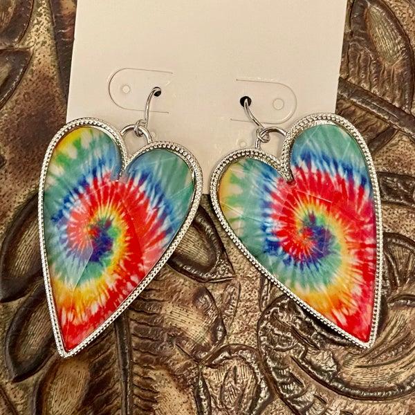 Tie Dye Heart Faceted Earrings