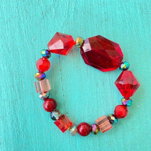 Bonnie Angela Red Crystal Stretch Bracelet