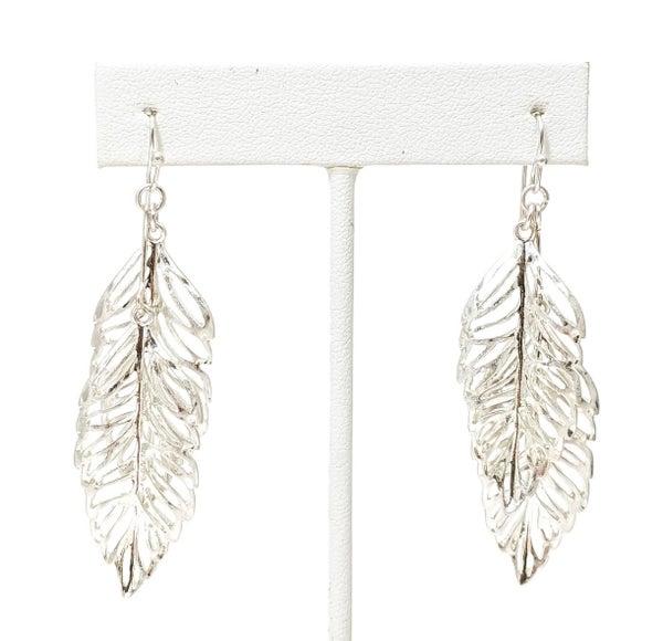 Silver Adaline Double Leaf Earrings