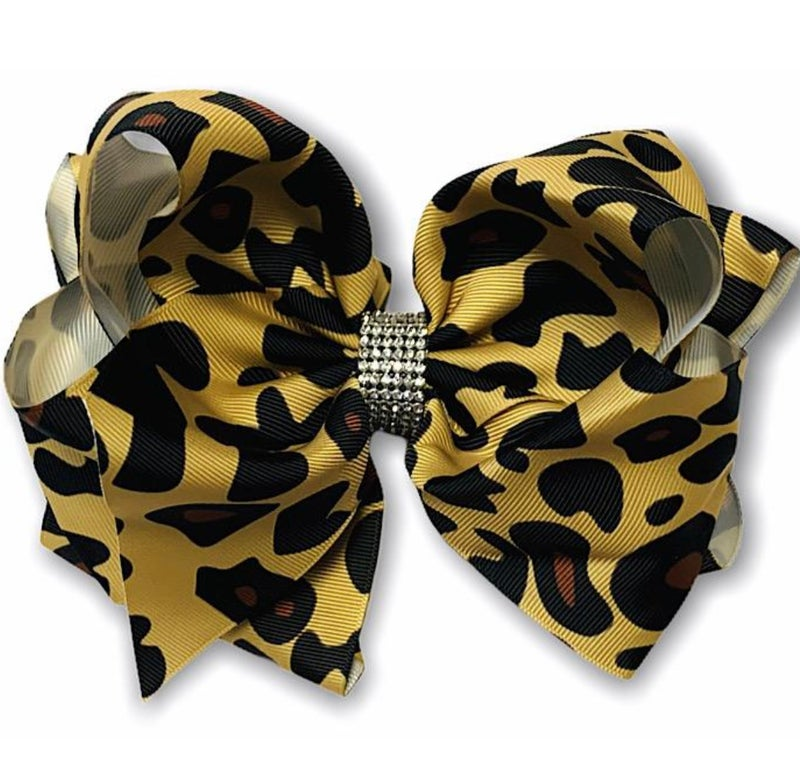 "7.5"" Leopard Print Rhinestone Hairbow"