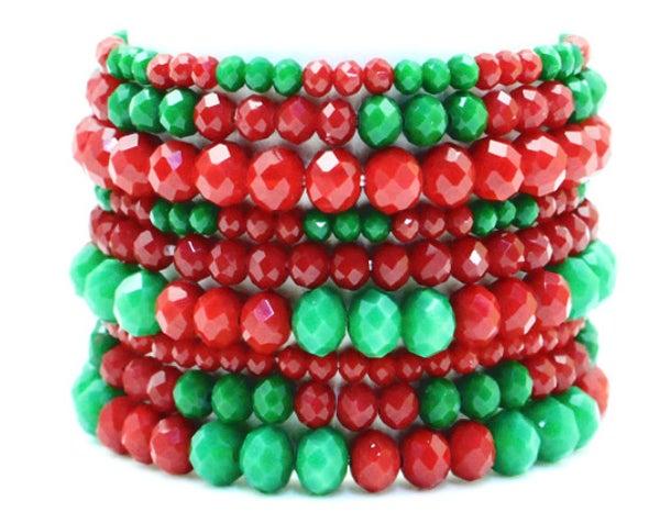 9-Piece Red & Green Crystal Beaded Bracelet Set