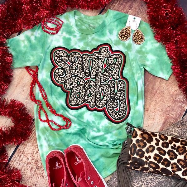 Leopard Santa Baby Tie Dye Green T-Shirt