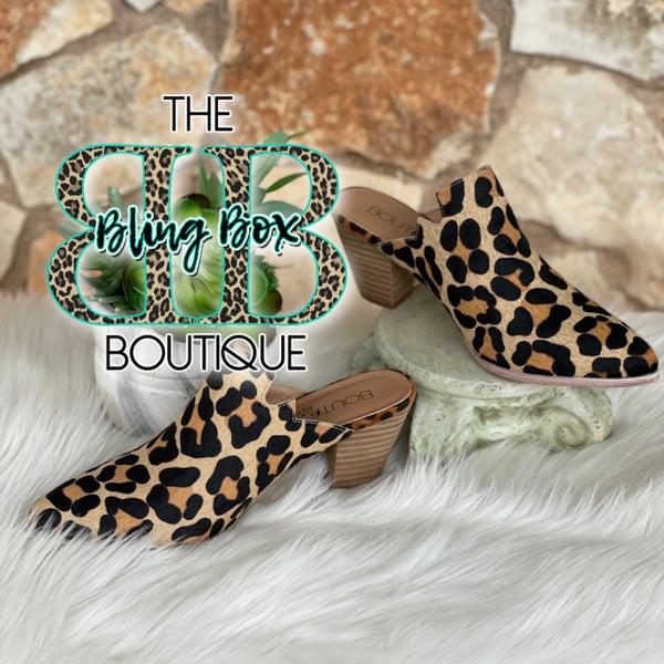 Corkys Leopard Woodlands Genuine Leather Mule Shoe