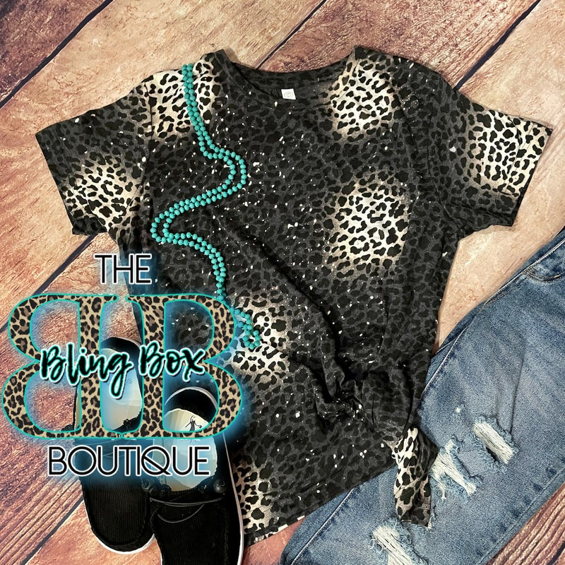 Black Bleached Leopard Ladies Fitted Tee